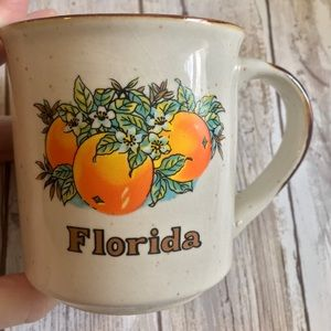 Vintage Florida stoneware coffee mug, oranges